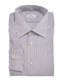 Striped Woven Dress Shirt, Gray/Olive