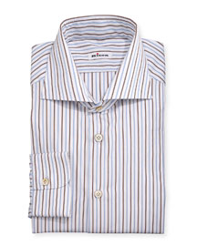Multi-Striped Woven Dress Shirt, Blue/Brown/White
