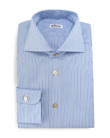 Alternating-Stripe Button-Down Sport Shirt, Blue/White