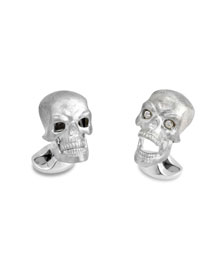 Hinged-Skull Sterling Silver Cuff Links