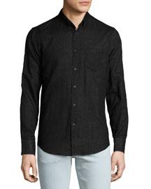 Tonal-Plaid Woven Sport Shirt, Black