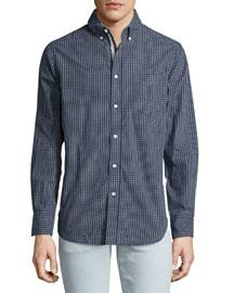 Mini-Plaid Woven Sport Shirt, Navy