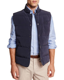 Quilted Snap-Button Vest, Navy