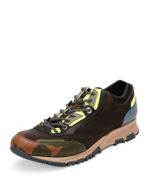 Camo-Print Leather Running Sneaker, Khaki-Noir