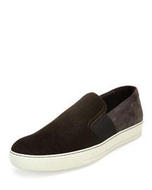 Men's Calf Hair Skate Sneaker, Brown/Khaki