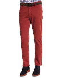 Five-Pocket Stretch-Cotton Pants, Orange