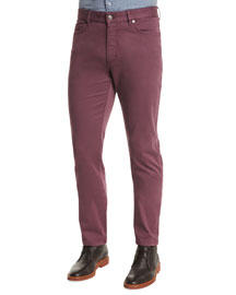 Five-Pocket Stretch Pants, Purple