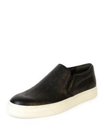 Embossed-Skull Leather Skate Shoe, Black