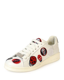 Skull-Patch Leather Low-Top Sneaker, White