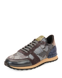 Camo Butterfly-Print Leather Sneaker, Gray