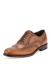 Gerard Calfskin Wing-Tip Lace-Up Oxford, Light Brown
