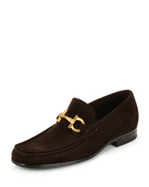 Grandioso 2 Suede Gancini Loafer, Chocolate