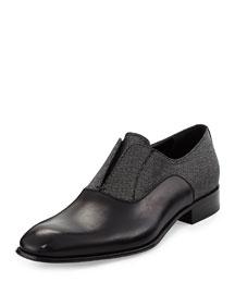 Gene 2 Calfskin and Metallic Fabric Slip-On Loafer, Black