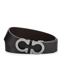 Double-Gancini Buckle Leather Belt, Black/Hickory