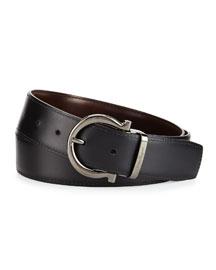 Madera Gancini Leather Dress Belt, Black
