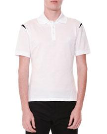Short-Sleeve Logo Polo Shirt w/ Shoulder Detail, White