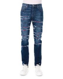 Straight-Leg Slashed Selvedge Denim Jeans, Blue