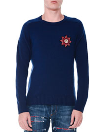 Cashmere Beaded-Patch Long-Sleeve Sweater, Blue