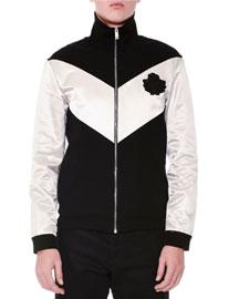 Colorblock Full-Zip Track Jacket, Black/Stone