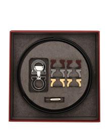 Reversible Leather Belt Boxed Gift Set, Black