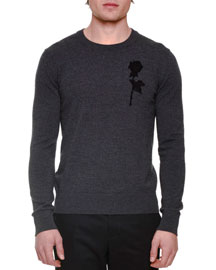 Rose Embroidery Long-Sleeve Crewneck Sweater, Gray