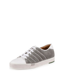 Playfield Suede & Leather Sneaker, Gray/White