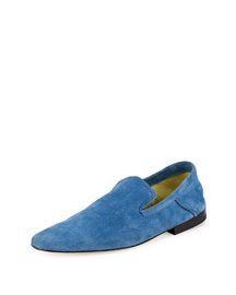 Andrea Suede Fold-Down Loafer, Aquamarine