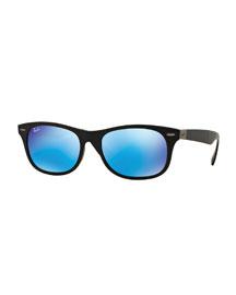 Men's Wayfarer Plastic Sunglasses with Mirror Lenses