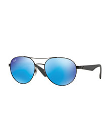 Round Mirror-Framed Aviator Sunglasses, Blue
