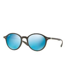 Classic Round Sunglasses with Mirror Lenses
