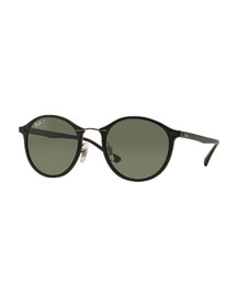 Men's Classic Round Sunglasses, Black