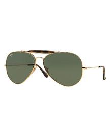 Havana Metal Aviator Sunglasses, Gold/Dark Green
