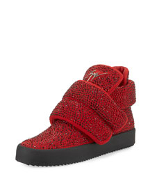 Men's Crystal-Studded High-Top Sneaker, Red