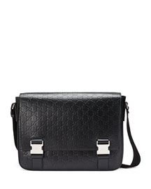 Signature Leather Messenger Bag, Black