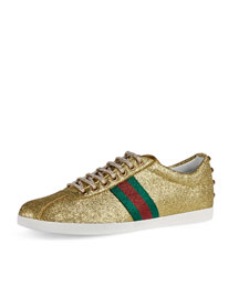 Bambi Web Low-Top Sneaker with Stud Detail, Gold