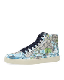 Common GG Blooms High-Top Sneaker, Blue/Beige