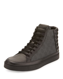 Common Canvas & Leather High-Top Sneaker, Blue/Beige