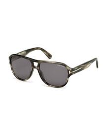 Dylan Men's Striped Acetate Sunglasses, Gray/Smoke