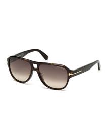 Shiny Dark Havana Sunglasses, Havana/Roviex
