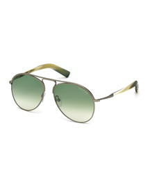 Cody Shiny Antique Metal Aviator Sunglasses, White/Green