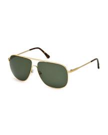 Dominic Metal Aviator Sunglasses, Rose Gold/Green