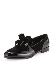 Fred Men's Formal Patent Leather Shoe with Velvet, Black