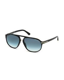 Jacob Shiny Aviator Sunglasses, Black/Turquoise