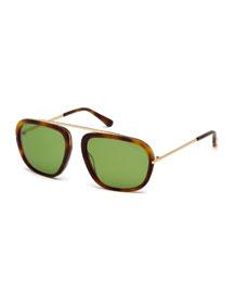 Johnson Medium Aviator Sunglasses, Havana/Green