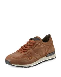 Burnished Nubuck Trainer Sneaker, Brown