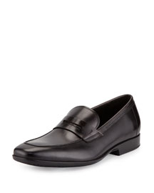 Lancillotto Calfskin Penny Loafer on Rubber Sole, Black