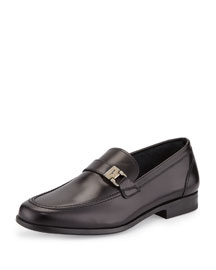 Lion Calfskin Side-Buckle Loafer on Rubber Sole, Black