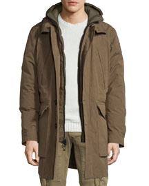Oldham Hooded Parka Jacket, Russet Brown