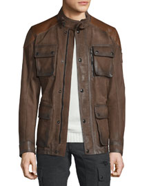 Trialmaster Calfskin Leather Jacket, Oak Brown