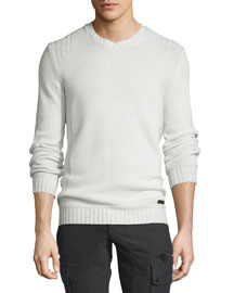 Margate Wool/Cashmere-Blend Crewneck Sweater, Natural White